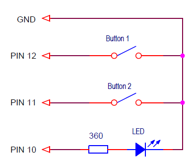 Сonnection diagram of buttons and LED
