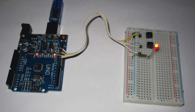 Сonnection of buttons and LED to Arduino