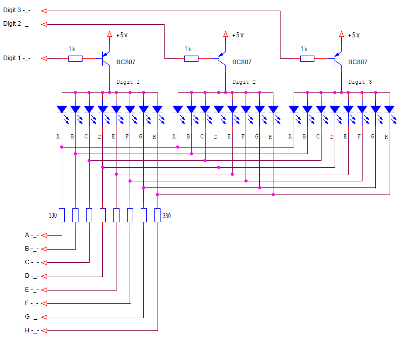 a multiplexed control circuit for a common anode LED display