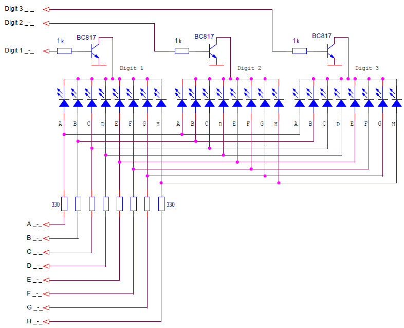 A multiplexed control circuit for a common cathode LED display