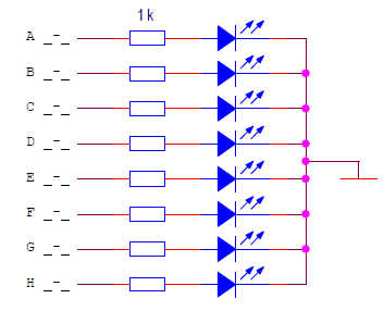 A common cathode LED display