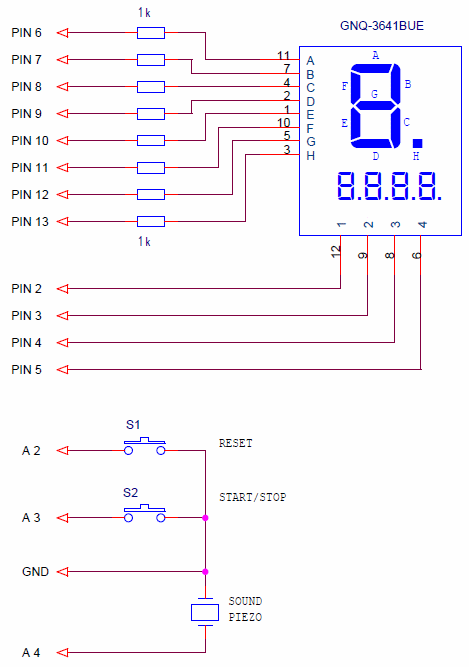 A sports stopwatch circuit based on Arduino