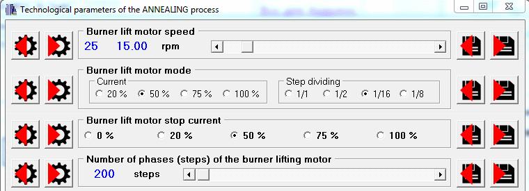 Process parameters window