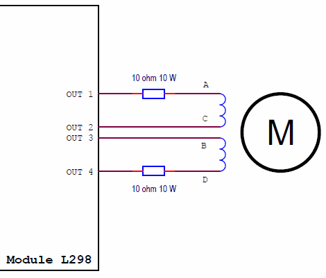 schematic diagram of a simple bipolar stepper motor driver